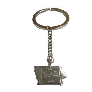 Iowa State Map Shape and Flag Design Keychain